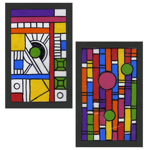 Frank Lloyd Wright-Inspired Faux Stained Glass - Project #198